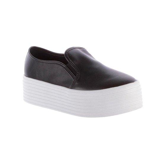 Slip On Damannu Shoes Louise Skin Feminina - Preto