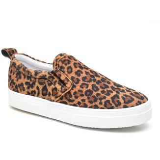 Slip On JL Shoes Estampa Animal Print Oncinha Casual Feminino