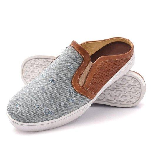 Slip on Mule Couro Click Calcados Jeans Masculino - Jeans Claro