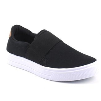 Slip On Tag Shoes Lona Elástico Feminino