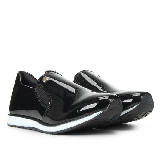 Slip On Via Uno Jogging Verniz Feminino - Preto