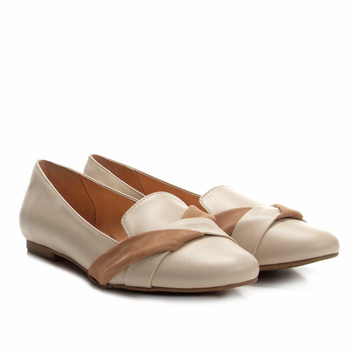 Feminino Slipper Nude Bicolor Couro Slipper Shoestock Shoestock Feminino Nude Bicolor Slipper Couro vCgOwxAOqH