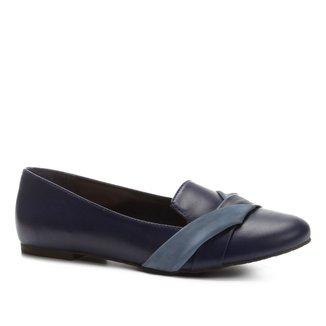 Slipper Couro Shoestock Bicolor Feminino