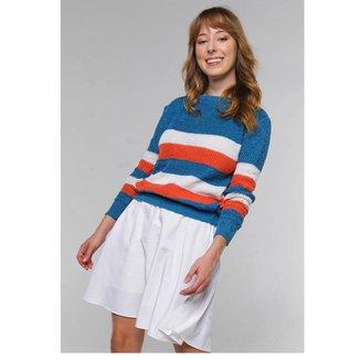 Suéter de Tricot Listrado Levemente Bufante Under79 Feminina