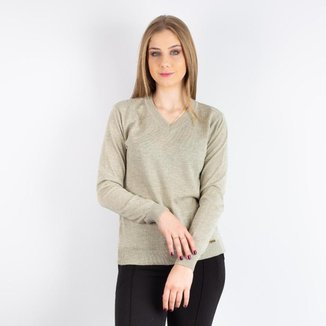 Suéter feminino de malha gola V 31268