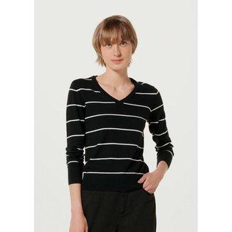 Suéter Feminino Listrado Em Tricô De Algodão