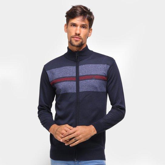 Suéter Lucky Sailing Ziper Inteiro Masculino - Marinho
