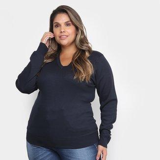Suéter Tricô City Lady Gola V Plus Size Feminino
