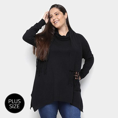 Suéter Tricot City Lady Plus Size Gola Removível Feminino-Feminino