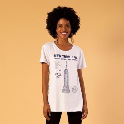 T-shirt alongada estampa new york Feminina