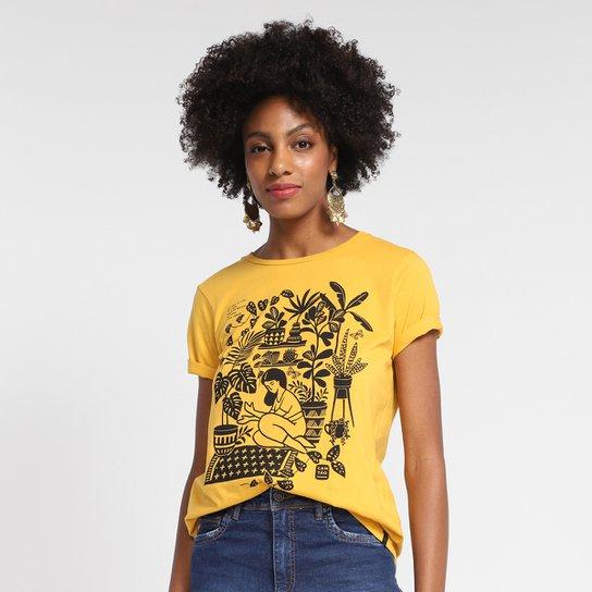 T-Shirt Cantão Classic Floresta Urbana Feminina - Bege