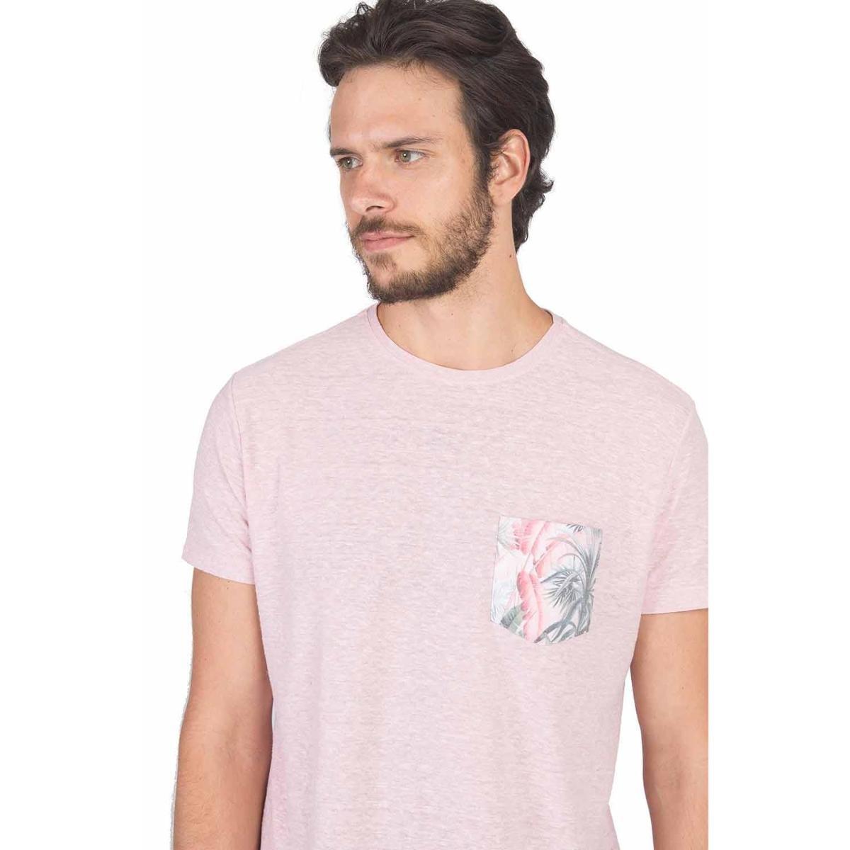 T-Shirt Com Bolso Estampado Sublimado Masculina - Rosa