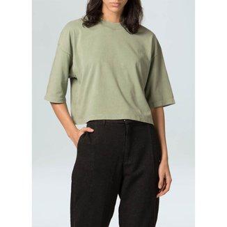 T-Shirt Cropped Marmorizada-Verde/Cerrado - P