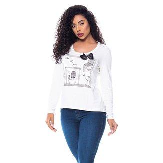 T-Shirt Daniela Cristina Gola U Profundo Manga Longa 602Dc10368 Branco - Branco - GG