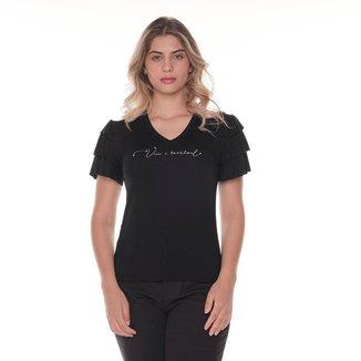 T-Shirt Daniela Cristina Gola V 09 602Dc10363 Preto - Preto - PP