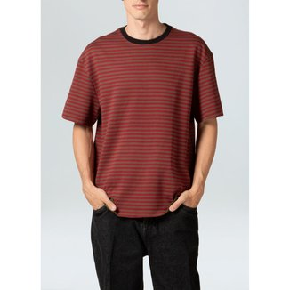 T-Shirt Double Stripes Teai-Preto/Verde/Marrom/Vermj - P