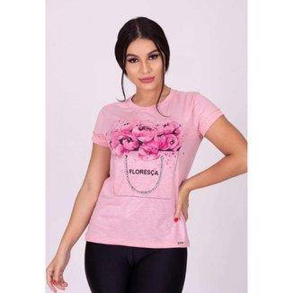 T-Shirt Limone com detalhe manga e brilho Rosa - P