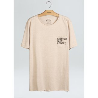 T-Shirt Pocket Respect Our People-Nude/Mescla - P