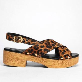 Tamanco Couro Shoestock Clog Pelo Onça