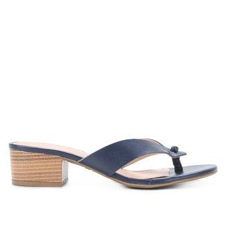 Tamanco Couro Shoestock Salto Bloco Baixo