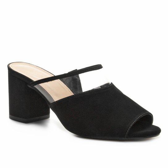 Tamanco Couro Shoestock Salto Bloco Vinil Feminino - Preto