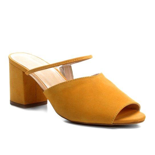 Tamanco Couro Shoestock Salto Bloco Vinil Feminino - Amarelo