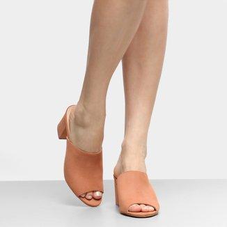 Tamanco Couro Shoestock Salto Grosso Feminino