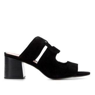 Tamanco Couro Shoestock Salto Médio Tiras Entrelaçadas