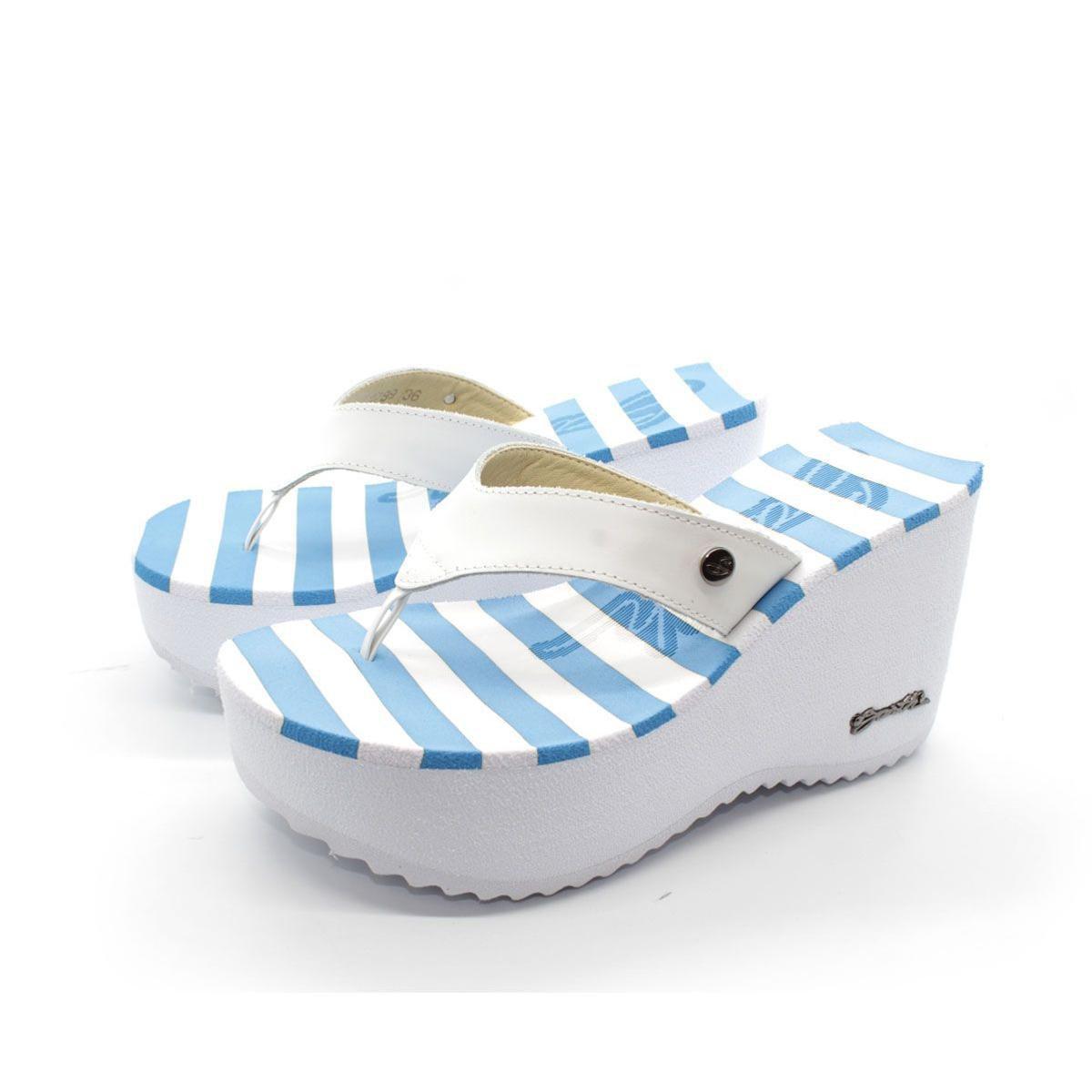 253745c012 Tamanco Sorvete Barth Shoes Listras - Azul e Branco - Compre Agora ...