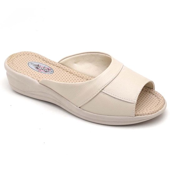 Tamanco Top Franca Shoes Conforto Feminino - Bege