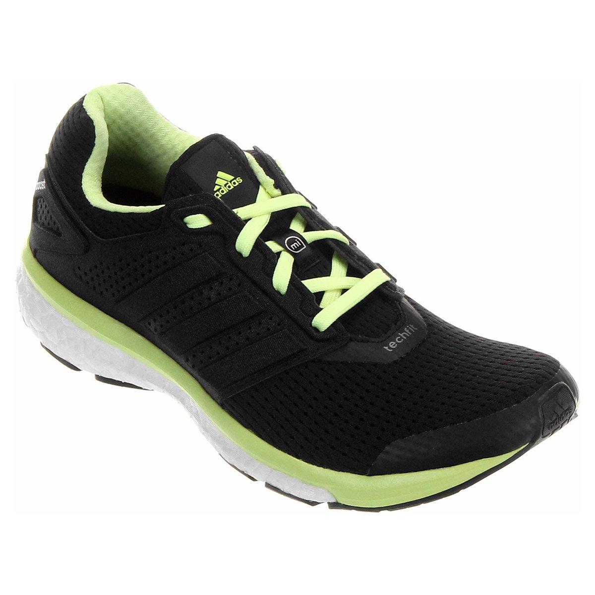 tenis adidas preto e verde limão