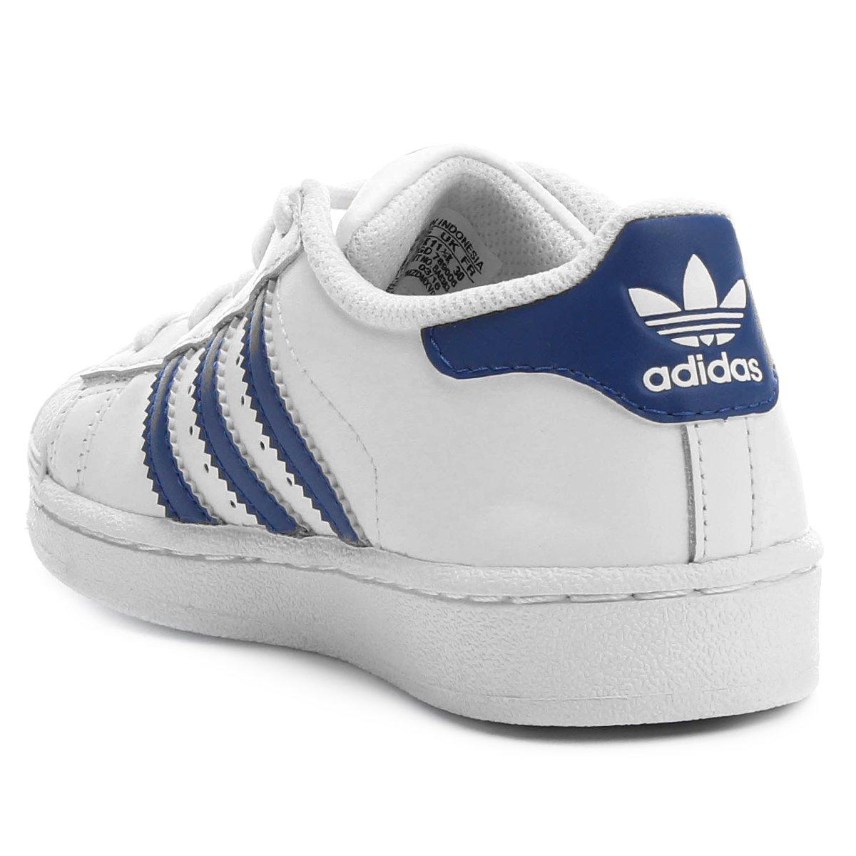 1bbfd222e2 Tênis Adidas Superstar Foundation El Infantil - Branco e Azul ...