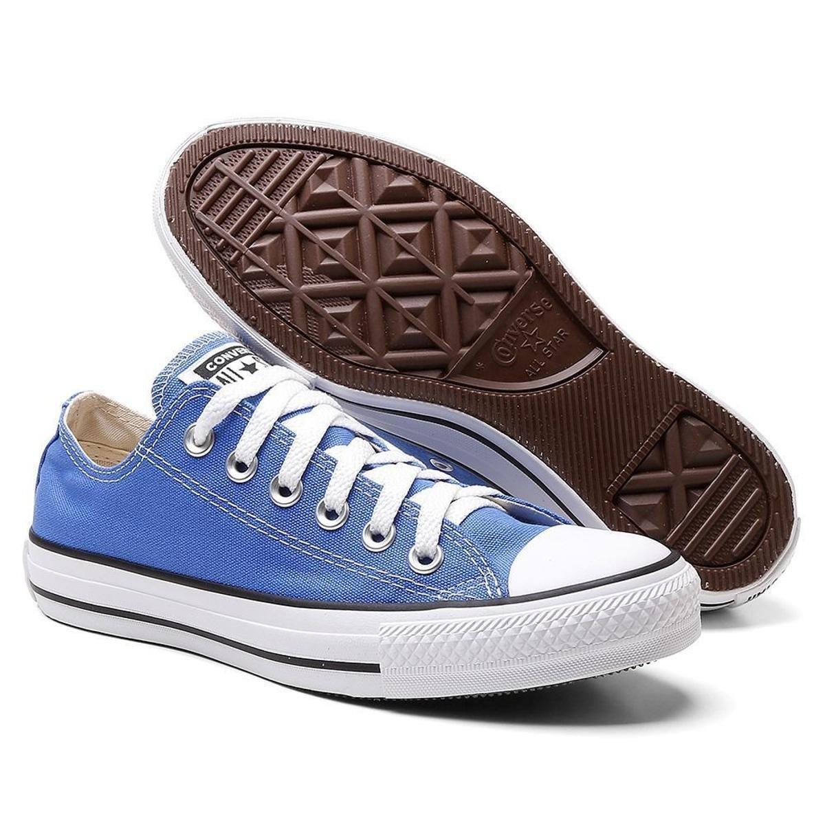 Tênis All Star Converse Liso Cadarço Cano Baixo Feminino - Azul