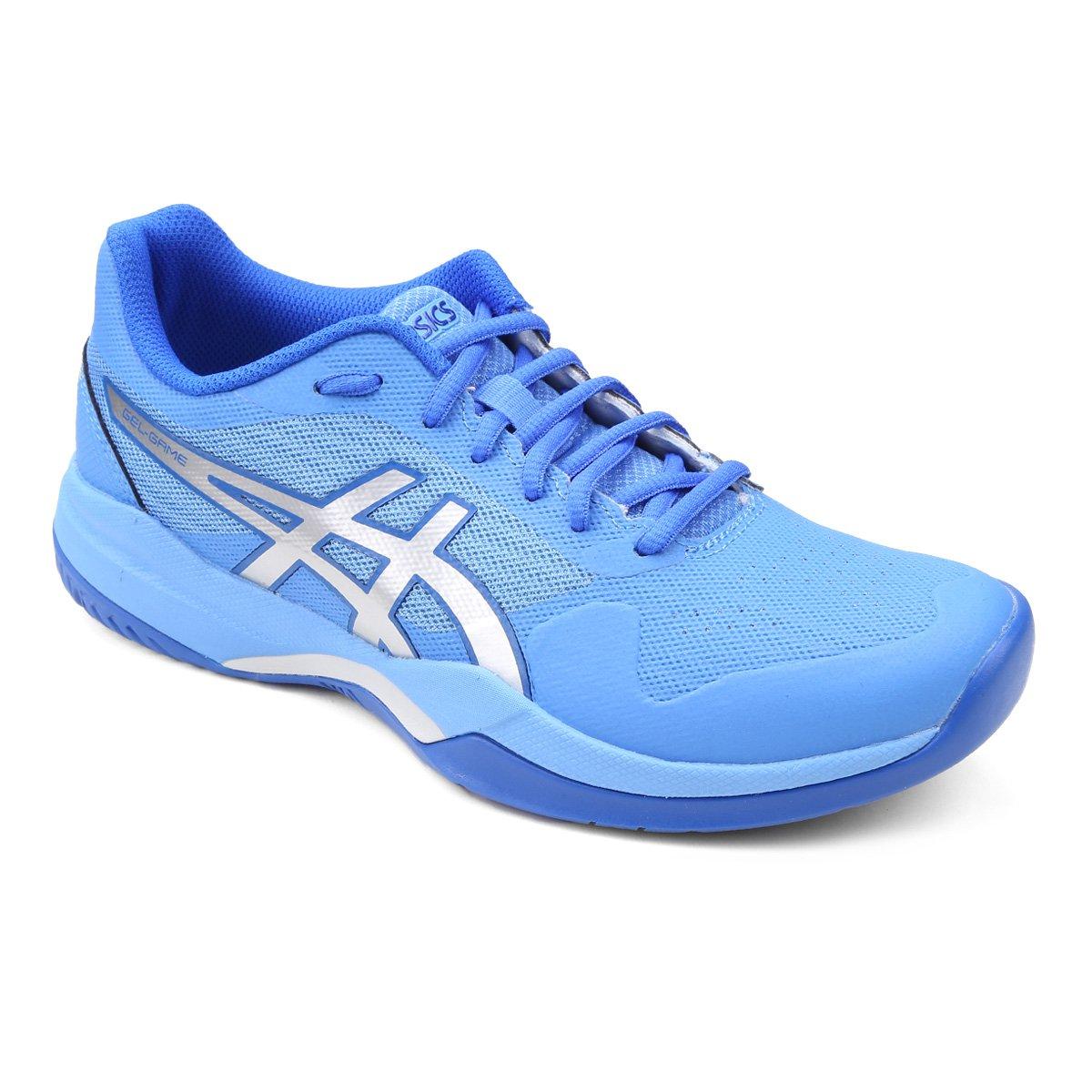 1f3ba93585 Tênis Asics Gel-Game 7 Feminino - Azul e Prata - Compre Agora