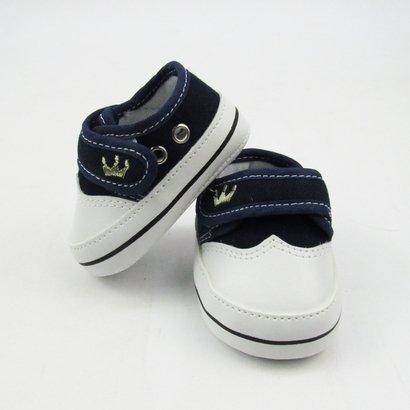 Tênis Bebê Masculino Azul Marinho Bordado Coroa com Velcro -P