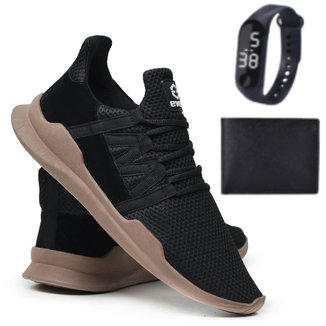 Tênis Caminhada Corrida Leve Macio Confortável Fitness Academia + Carteira + Relógio