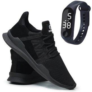 Tênis Caminhada Corrida Leve Macio Confortável Fitness Academia + Relógio
