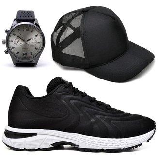 Tênis Caminhada Masculino Conforto + Relógio + Boné Casual