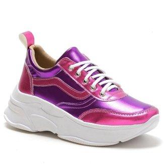 Tênis Casual Yes Basic Chunky Sneaker Plataforma Metalizado Feminino