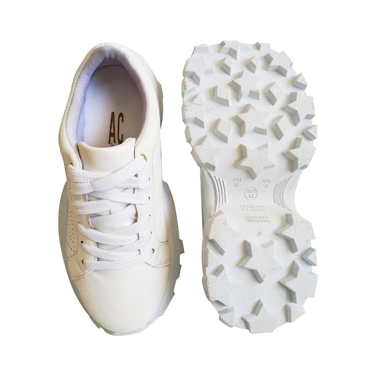 Tenis Chunky Ana Crsitina Fashion Perfuros Cadarço Feminino - Branco