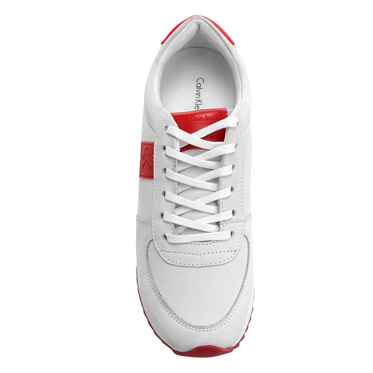 Feminino Tênis Feminino Branco Couro Couro Jogging Calvin Klein Klein Calvin Tênis Jogging pq6wZxR4x