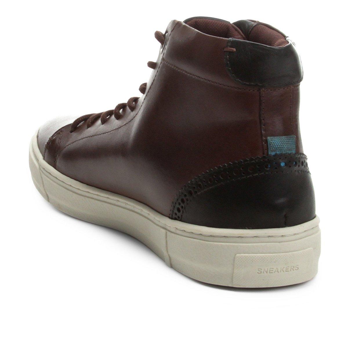 Couro Shoestock Café Alto Couro Tênis Cano Shoestock Alto Tênis Masculino Cano SRxFnX