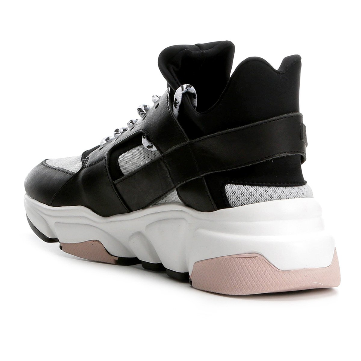 Branco Feminino Preto e Chunky Carrano Tênis Tênis Sneaker Feminino Sneaker Couro Preto Chunky Couro Carrano APqw6