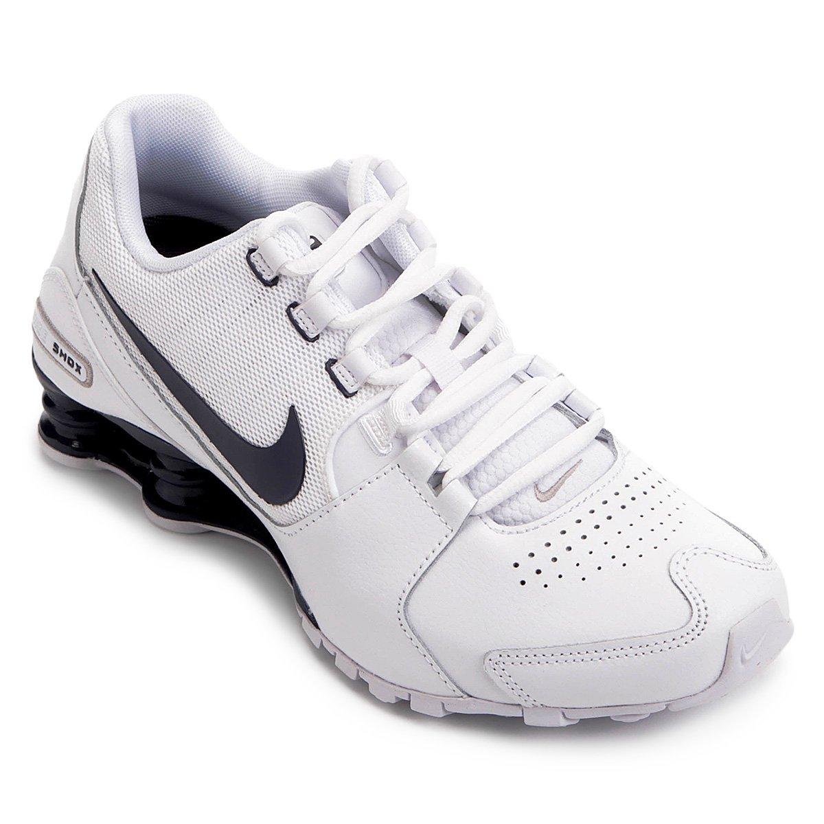 6e527ae0f6 Tênis Couro Nike Shox Avenue LTR Masculino - Branco e Azul - Compre ...