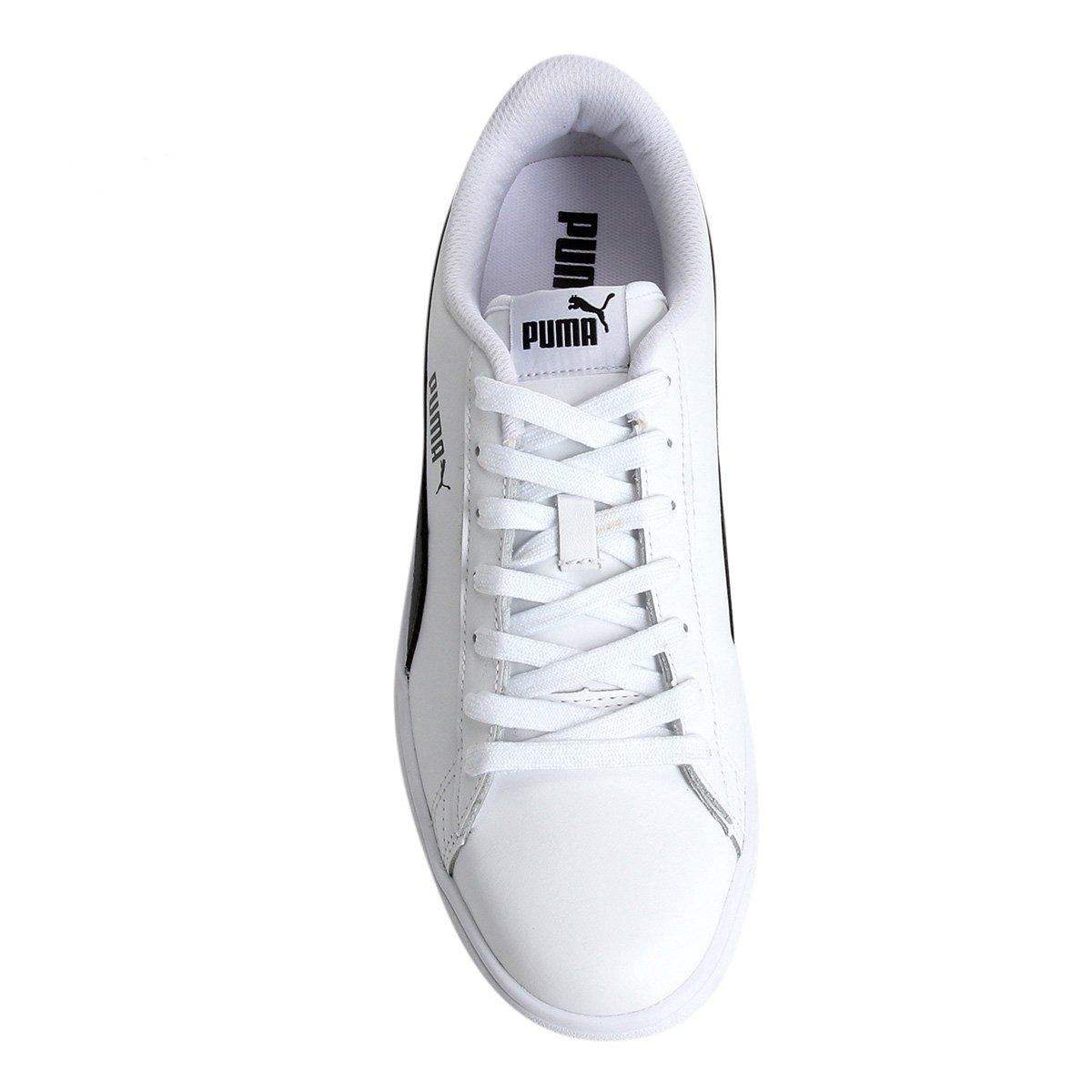 Tênis Couro Puma Smash V2 L Masculino - Branco e Preto - Compre ... 154c4e5da37da