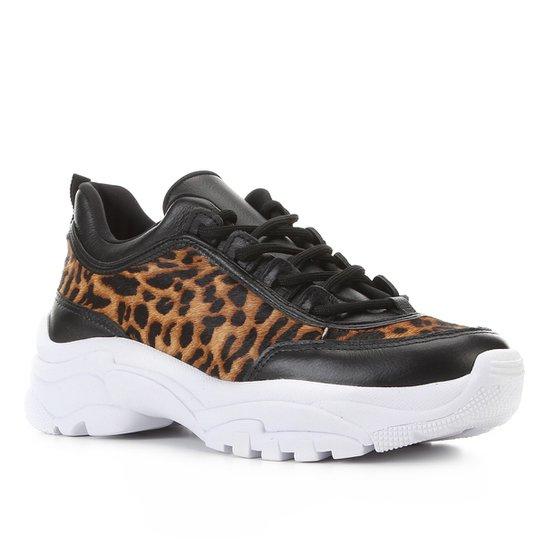 Tênis Couro Shoestock Chunky Onça Feminino - Marrom+Preto