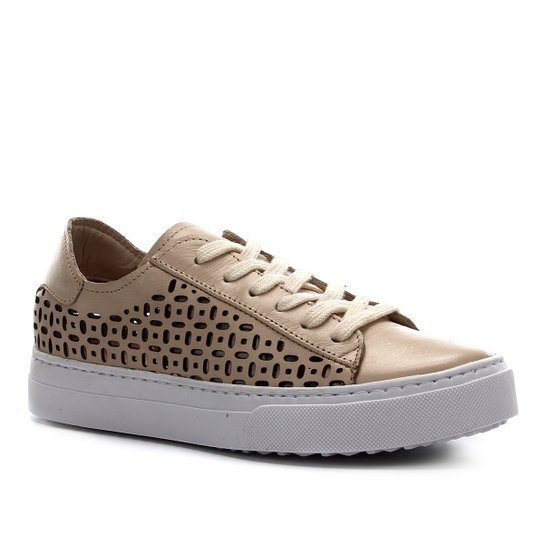 Tênis Couro Shoestock Laser Basic Feminino - Off White