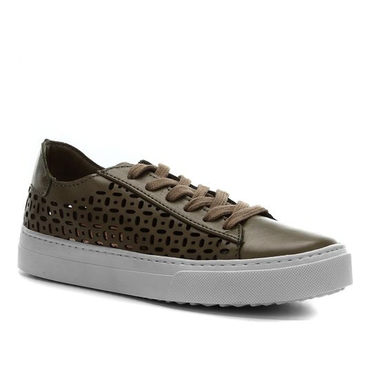 Tênis Couro Shoestock Laser Basic Feminino - Verde