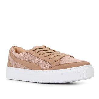 Tênis Couro Shoestock Nobuck Tricot Feminino