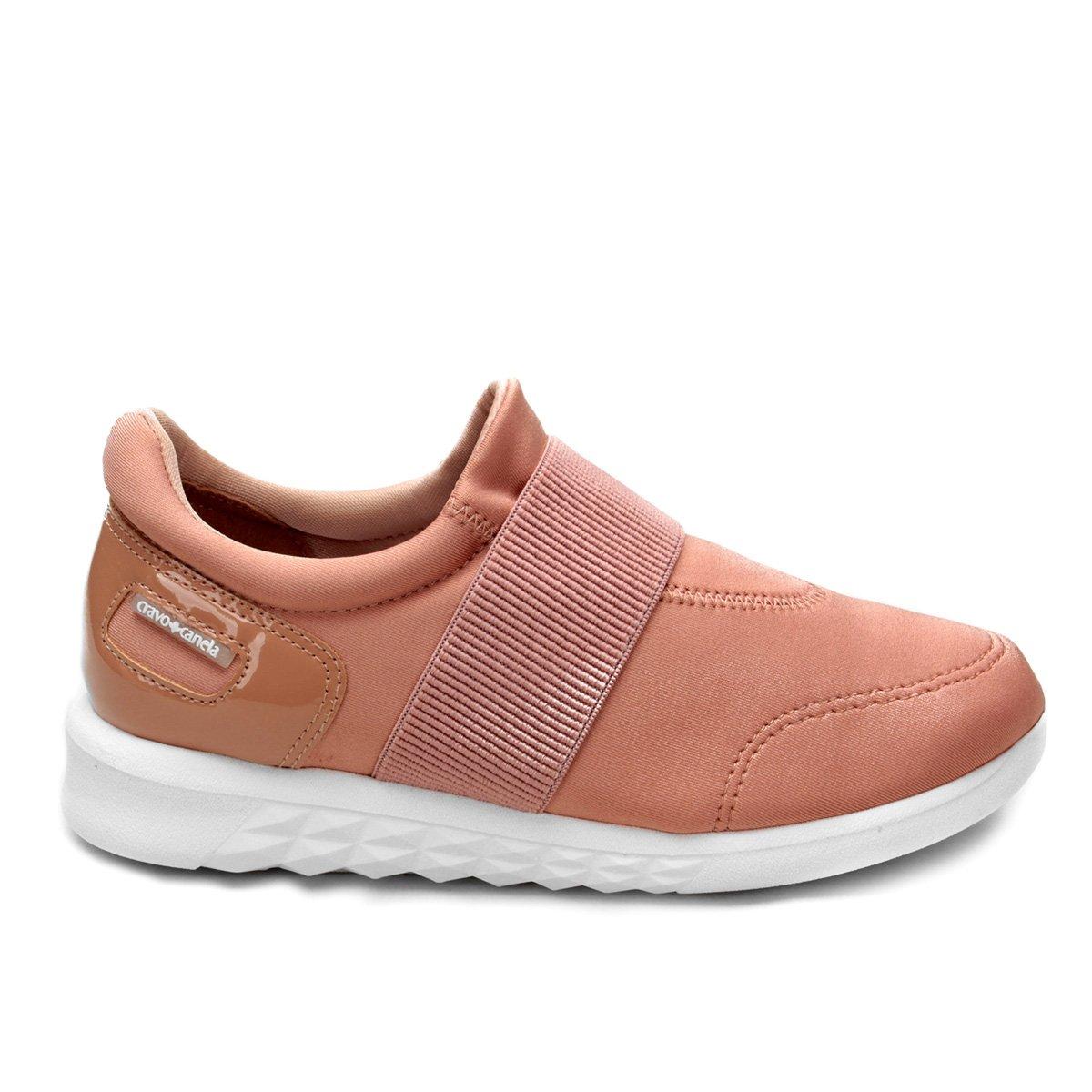 Tênis Tênis Cravo Cravo Rosa amp; Jogging Canela Elástico Feminino FwFqz5d